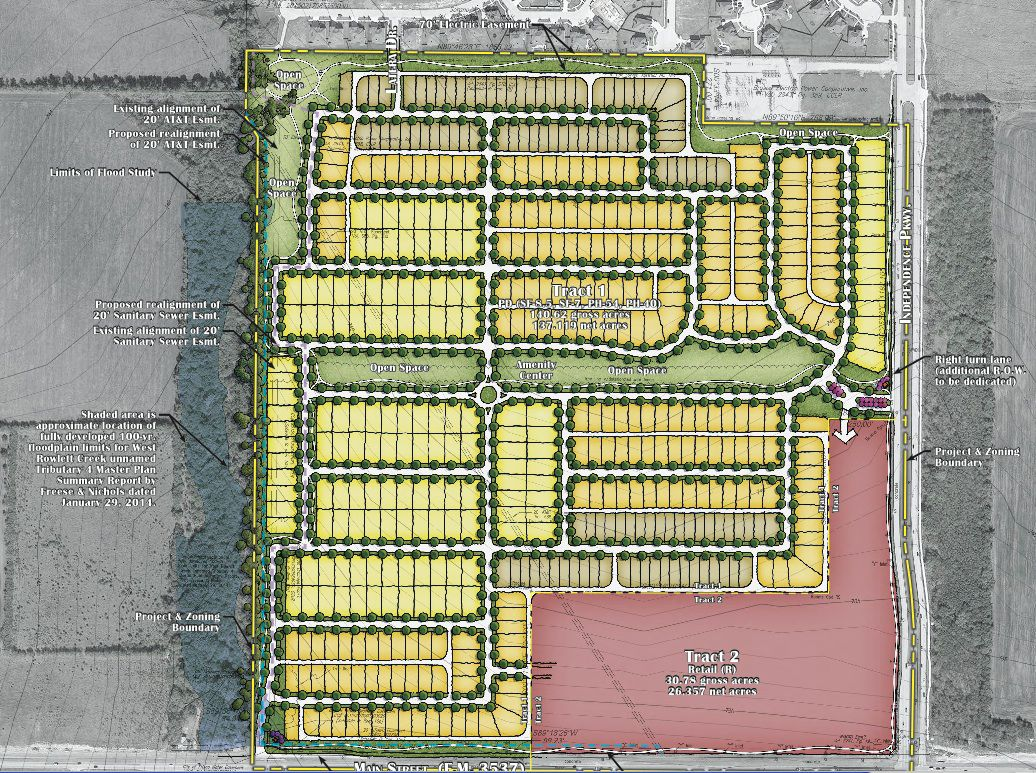 Designs approved by Frisco city planners include 500 houses and a shopping center at Main Street and Independence. (City of Frisco)