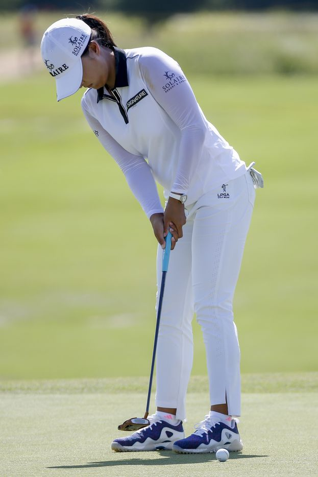 Professional golfer Jin Young Ko puts on the 18th green during round one of the LPGA VOA Classic on Thursday, July 1, 2021, in The Colony, Texas. Ko finished the first day at eight under par. (Elias Valverde II/The Dallas Morning News)