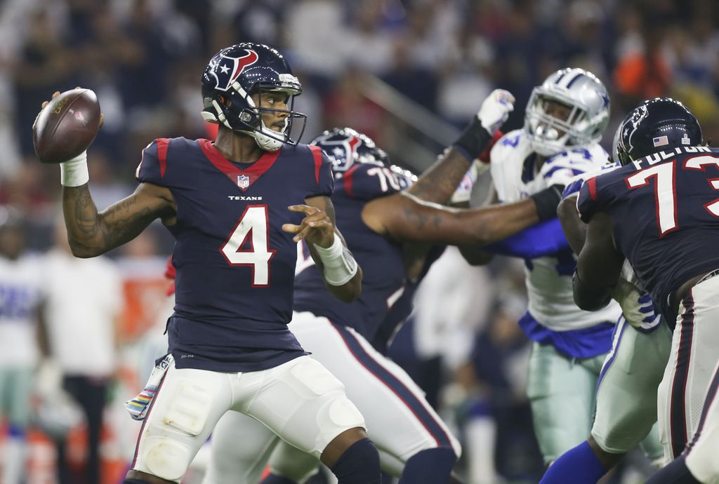 Houston Texans quarterback Deshaun Watson (4) during the second quarter of a game between the Houston Texans and the Dallas Cowboys on Sunday, Oct. 7, 2018 at NRG Stadium in Houston.