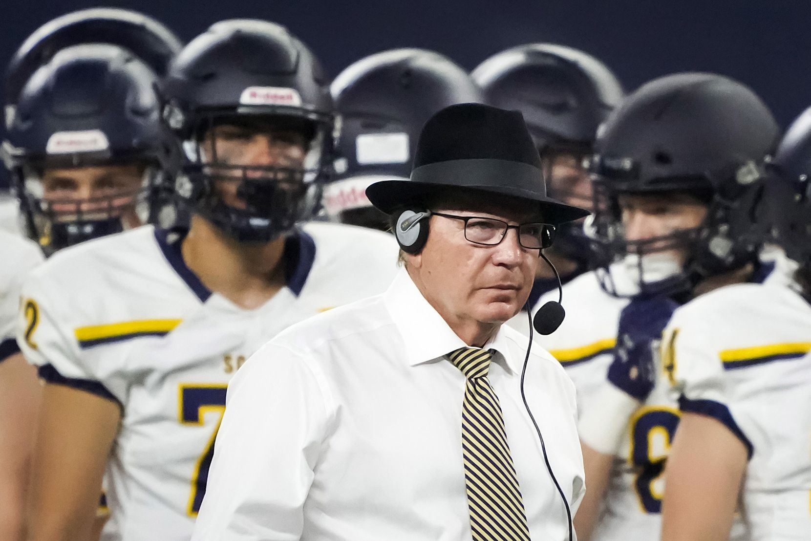 Highland Park head coach Randy Allen works the sidelines during the second half of a high school football game against Southlake Carroll at AT&T Stadium on Thursday, Aug. 26, 2021, in Arlington.