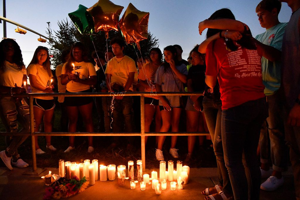 Odessa High School students and families remember their 15 year-old classmate Leilah Hernandez Monday Sept. 2, 2019 in Odessa, Texas. Leilah Hernandez, 15, was the youngest victim in the shooting spree that claimed multiple lives on Saturday. Leilah played basketball for Odessa High School, and her classmates have honored her by wearing her jersey number on their cheeks.