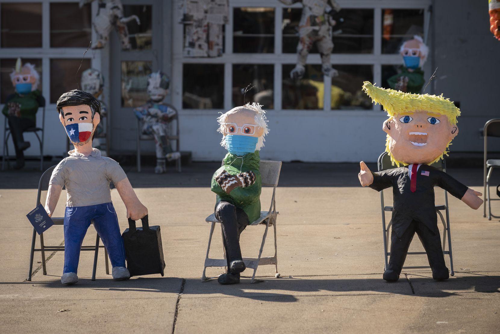 Las piñatas de los senadores Ted Cruz, Bernie Sanders y del expresidente Donald Trump son éxito de ventas en ABC Party, en Oak Cliff
