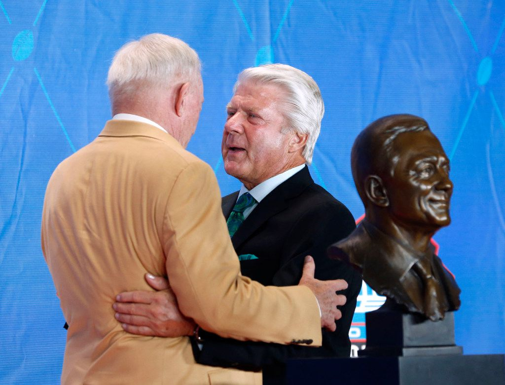 Former Dallas Cowboys head coach Jimmy Johnson talks with 2017 Pro Football Hall of Fame inductee and Dallas Cowboys owner and general manager Jerry Jones at the 2017 Pro Football Hall of Fame Enshrinement Ceremony at Tom Benson Stadium in Canton, Ohio on Saturday, August 6, 2017. (Vernon Bryant/The Dallas Morning News)