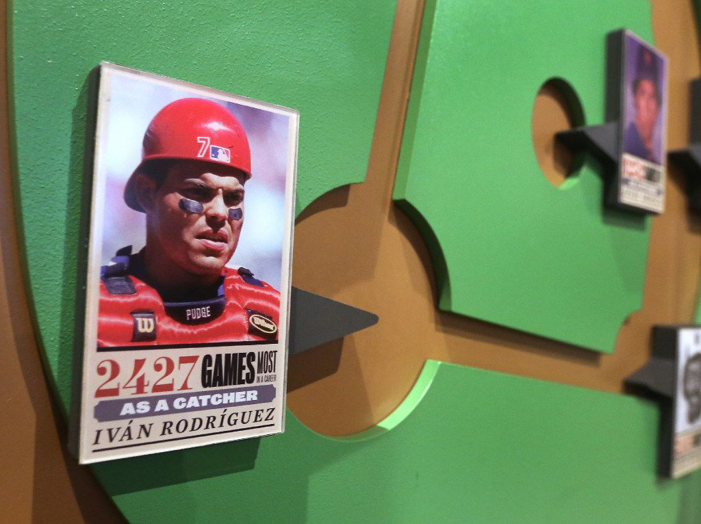 Former Texas Rangers catcher Pudge Rodriguez is included in a longevity exhibit at the Baseball Hall of Fame in Cooperstown, NY, photographed on Tuesday, May 30, 2017. (Louis DeLuca/The Dallas Morning News)