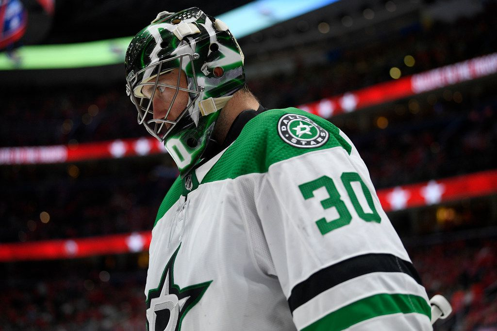 Dallas Stars goaltender Ben Bishop stands on the ice during a break in the action in the third period of the team's NHL hockey game against the Washington Capitals, Tuesday, Oct. 8, 2019, in Washington. The Stars won 4-3 in overtime.