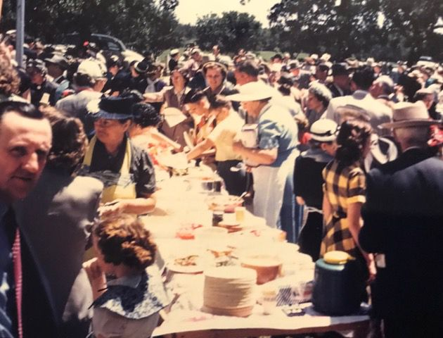 The crowd gathered at a College Mound Decoration Day from the early 1950s. The event began in 1886 as a dutiful tidying of the local cemetery with a subsequent picnic and until this year drew hundreds annually.