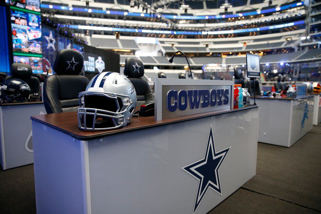 A desk for the Cowboys representatives is set during the NFL Draft at AT&T Stadium in Arlington, Texas, Thursday, April 26, 2018. (Jae S. Lee/The Dallas Morning News)