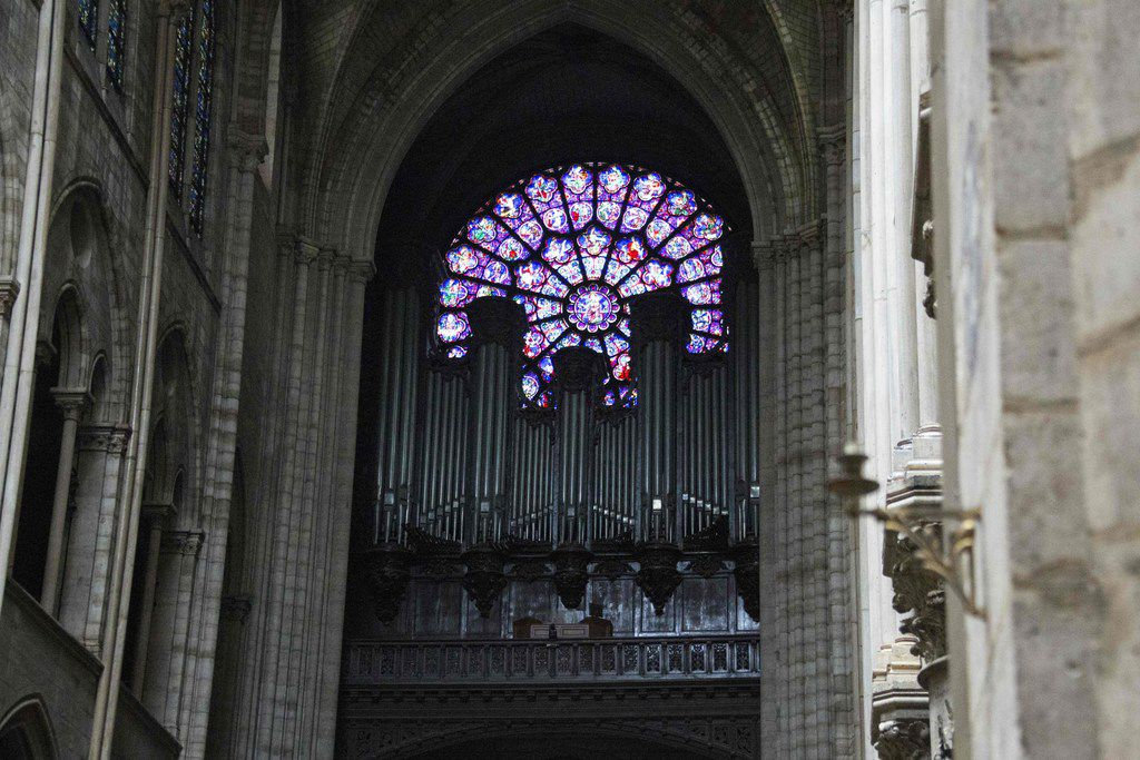The organ of Notre Dame Cathedral in Paris, photographed April 16, 2019, a day after a fire that devastated the building.