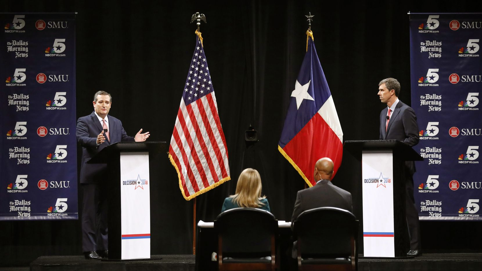 Republican U.S. Sen. Ted Cruz (left) and U.S. Rep. Beto O'Rourke, D-El Paso,  who participated in their first debate in Dallas last month, are inundating TV with ads asking for votes in the Nov. 6 election.