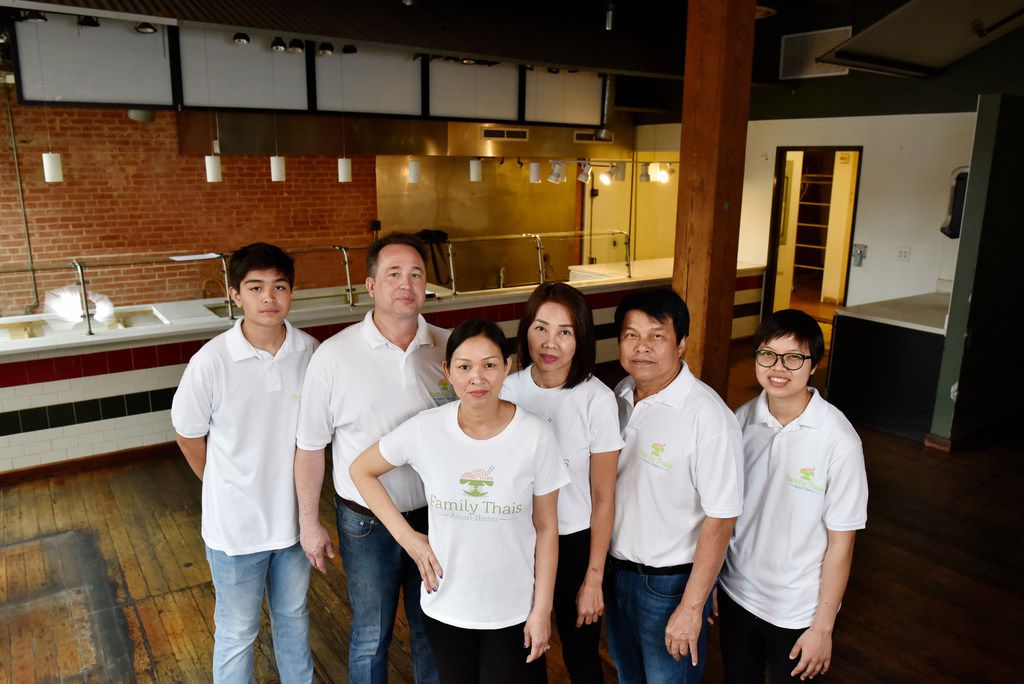 Jab Street, center, owns Family Thais with her husband Tony Street, behind her. Several family members traveled from Thailand to help the Streets open the restaurant in Dallas.