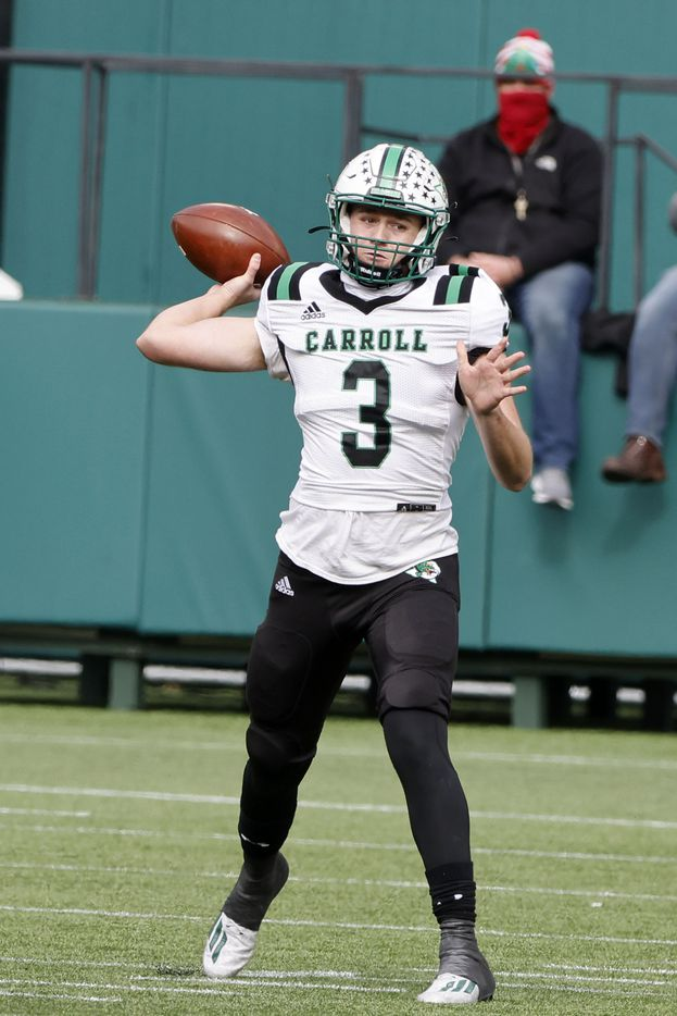 Southlake Carroll quarterback Quinn Ewers (3) throws a pass against Euless Trinity during the Class 6A Division I Region I high school football final, in Arlington, Texas, on Jan. 2, 2020. (Michael Ainsworth/Special Contributor)