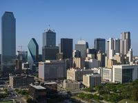 Aerial view of the downtown Dallas skyline.