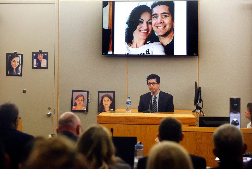 Kendra Hatcher's ex-boyfriend Ricardo Paniagua testifies below a photo of them during the murder trial for Brenda Delgado in the 363rd Judicial District Court at the Frank Crowley Courthouse in Dallas, Monday, June 3, 2019. Photos of Hatcher (left) and Delgado (center) and getaway driver Crystal Cortes (right) are pictured near the stand. Delgado is accused of hiring Crystal Cortes and Kristopher Love in a murder-for-hire plot to kill Kendra Hatcher, an Uptown dentist.  (Tom Fox/The Dallas Morning News)(Tom Fox/The Dallas Morning News)