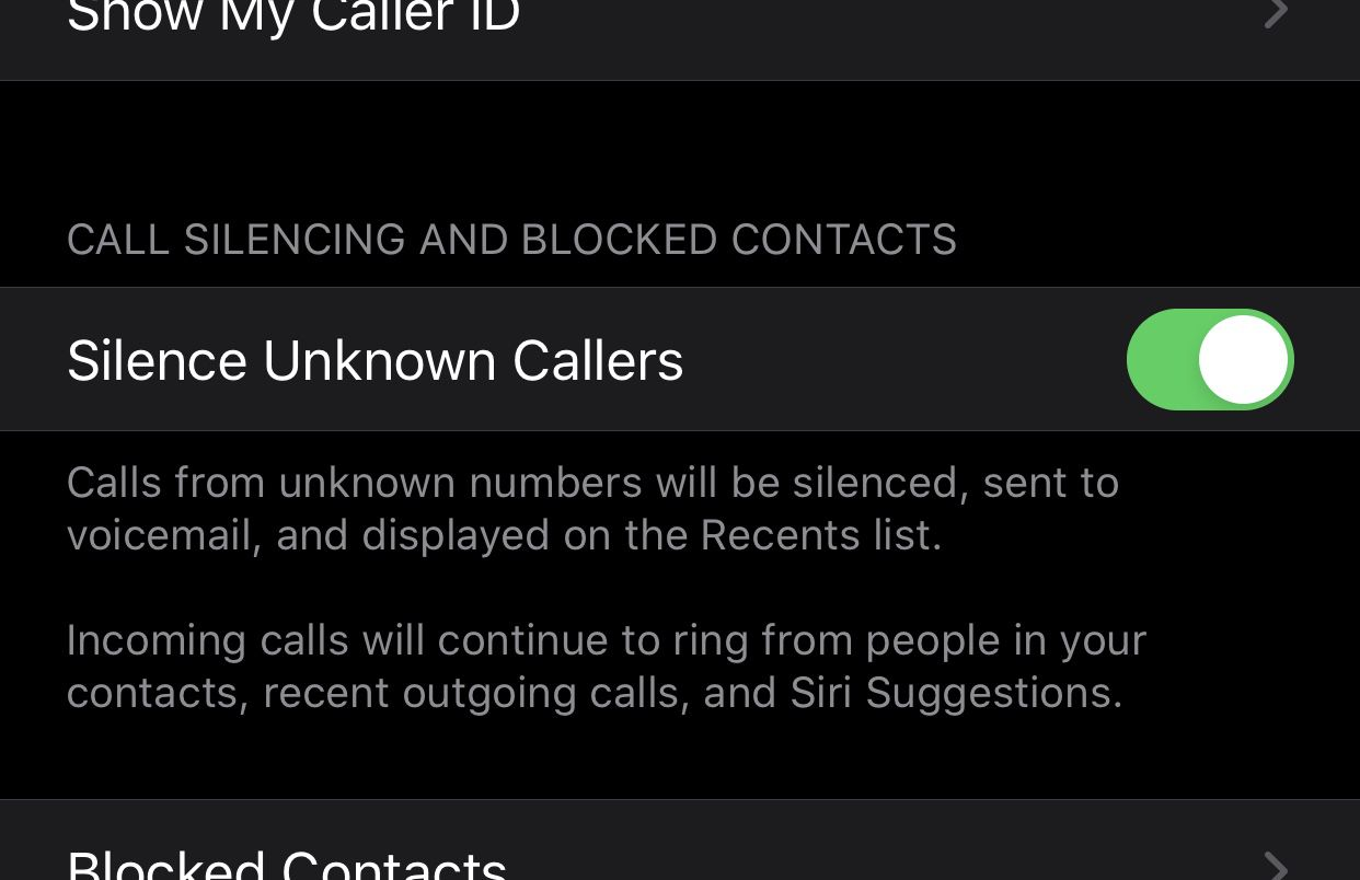 The iOS 13 setting to silence unknown callers.