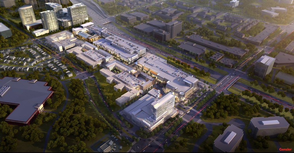 Updated rendering of the $400 million Legacy West Urban Village retail, restaurant, apartment and office project under construction on the Dallas North Tollway in West Plano.