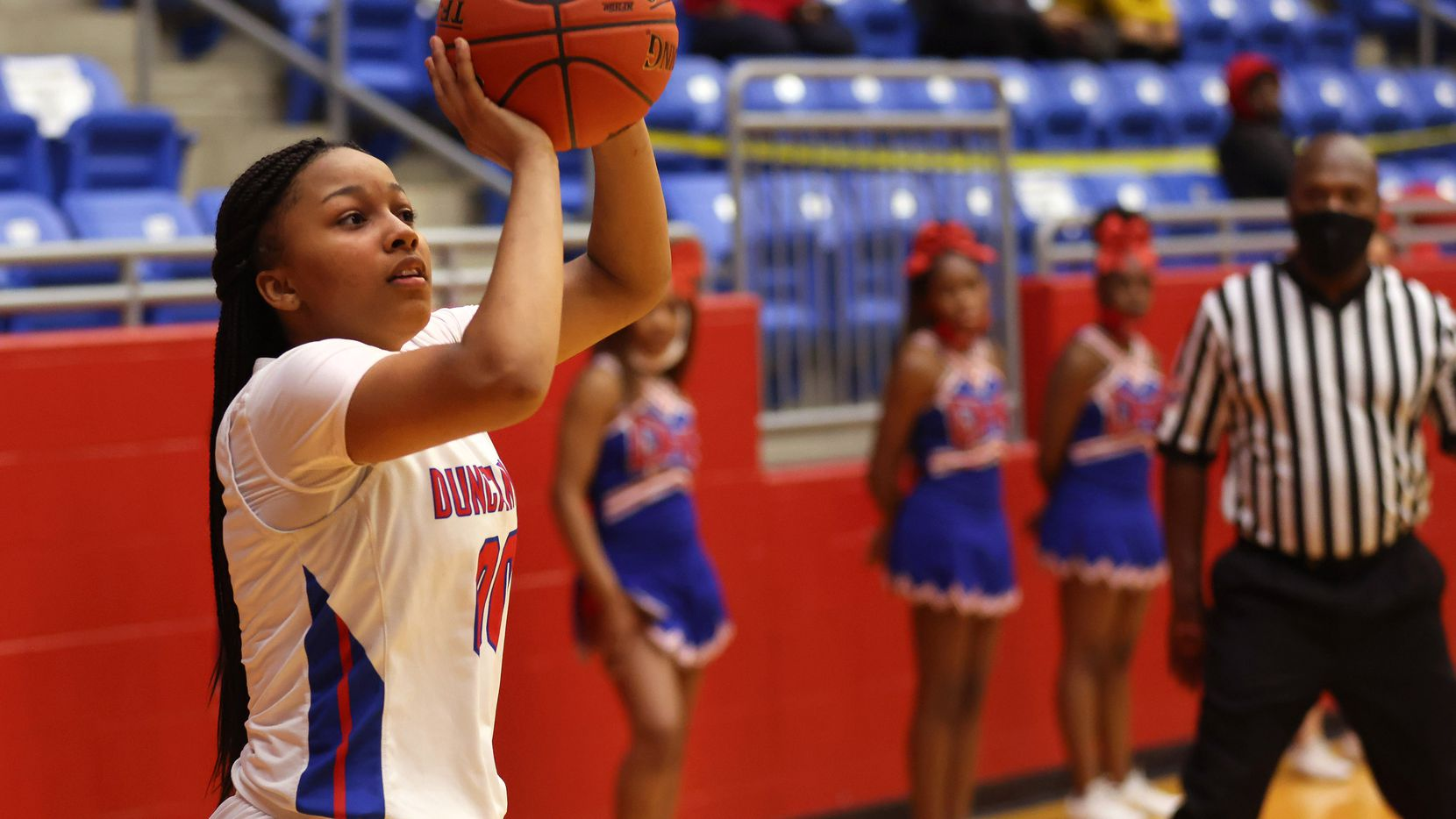 Duncanville's Hope LeMelle (00) attempts a shot in a game against Cedar Hill during the second half of play at Sandra Meadows Arena at Duncanville High School on Tuesday, Jan. 12, 2021, in Dallas. Duncanville defeated Cedar Hill 63-42.