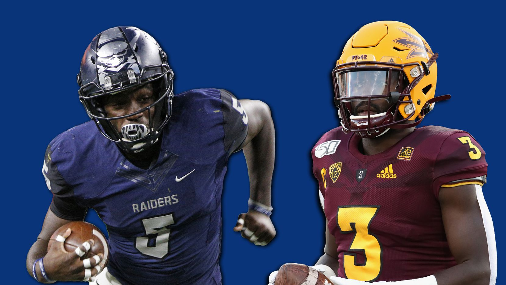 Eno Benjamin with Wylie East in 2015 (left) and Arizona State in 2018 (right).
