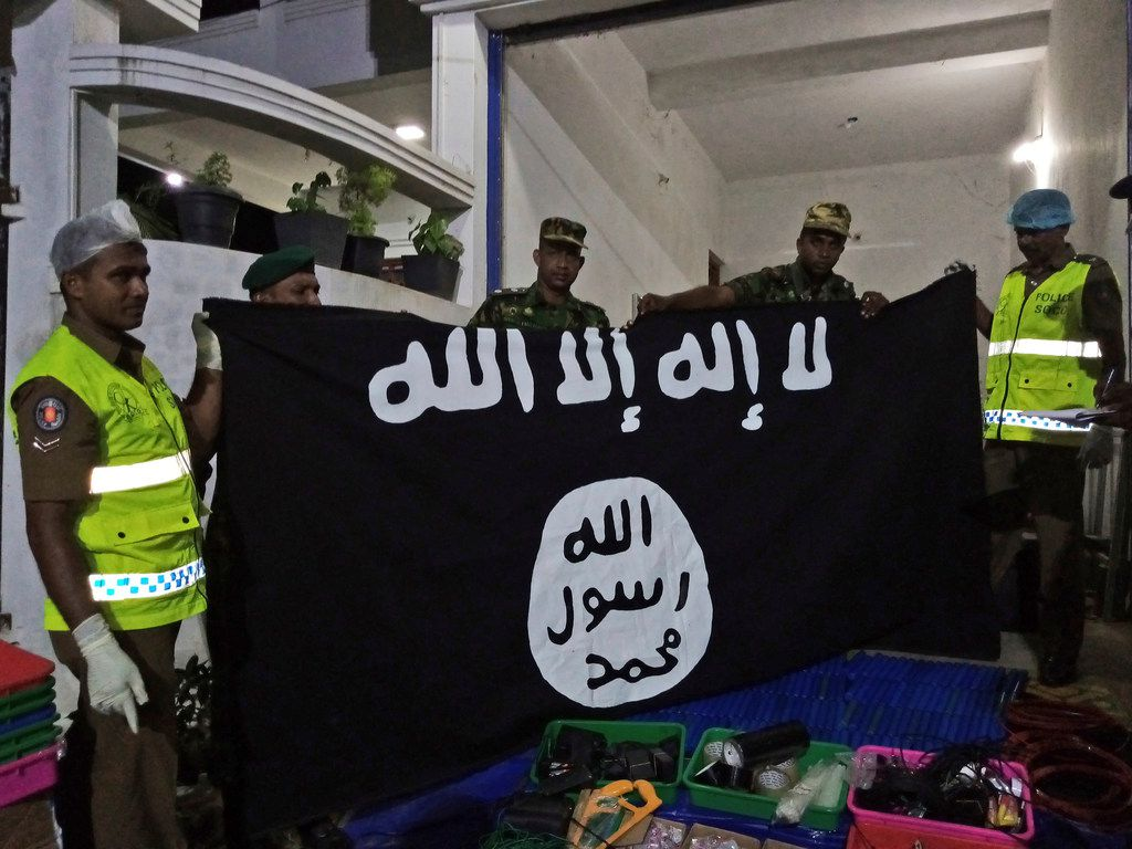 An ISIS flag recovered from alleged hideout of militants in Kalmunai, eastern Sri Lanka.