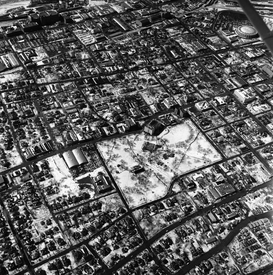 The snow-capped Cedars — including the Ambassador and Old City Park — as seen from the air on Feb. 25, 1960.