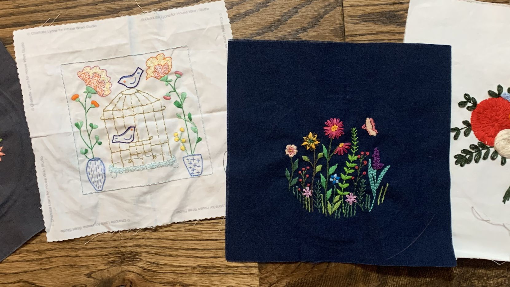 Some of Tyra's embroidery pieces