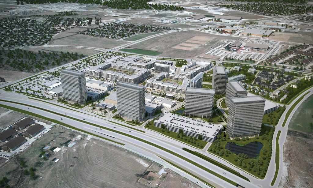 A rendering of the new Wade Park mixed-use development at the southeast corner of the Dallas North Tollway and Lebanon Road in Frisco.