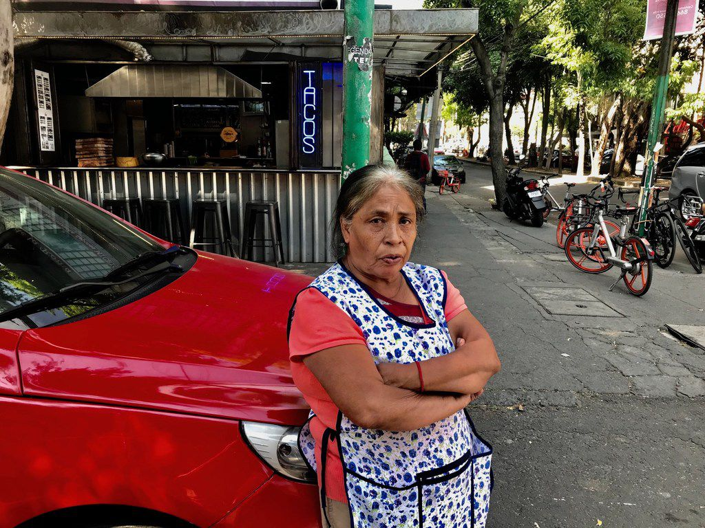 Domestic worker Mary Morales, 60, has been working for the same employer in Colonia Roma in Mexico City for about 25 years. She feels like part of the family and works six days a week, including this Saturday in January.