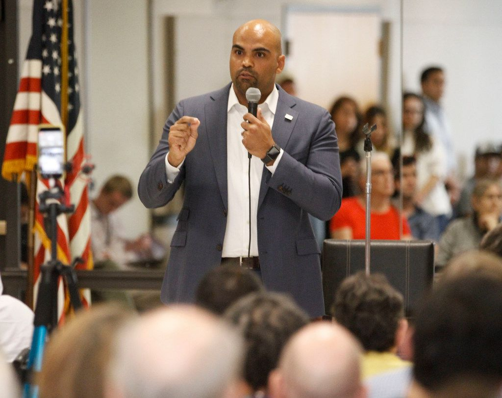 U.S. Rep. Colin Allred spoke at a town hall meeting at the Garland Senior Activity Center on Aug. 12.