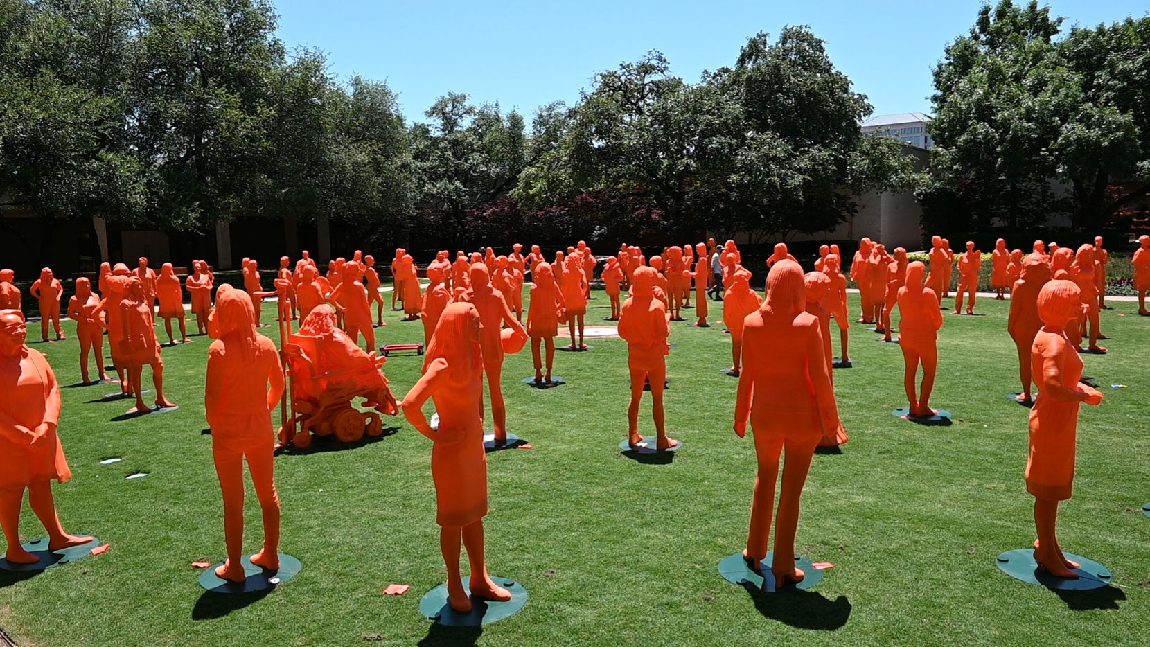 More than 100 statues of women scientists are assembled on the courtyard lawn at NorthPark for '#IfThenSheCan --The Exhibit', which runs through October.