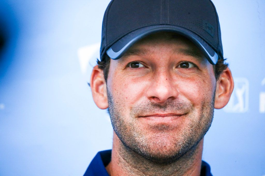 Former Dallas Cowboys quarterback Tony Romo talks to the media following  the first round of the AT&T Byron Nelson golf tournament at Trinity Forest Golf Club in Dallas on Thursday, May 9, 2019.(Shaban Athuman/Staff Photographer)