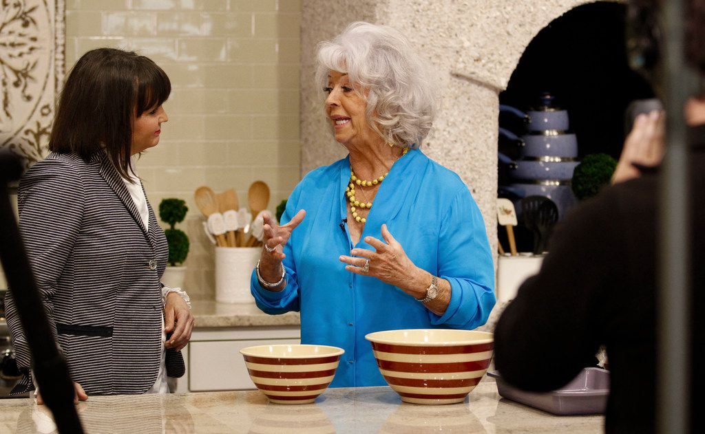 Paula Deen talks to Good Morning Texas personality Paige McCoy Smith while filming a segment at Paula Deen's Family Kitchen in Fairview on April 20, 2018. (Brian Elledge/The Dallas Morning News)