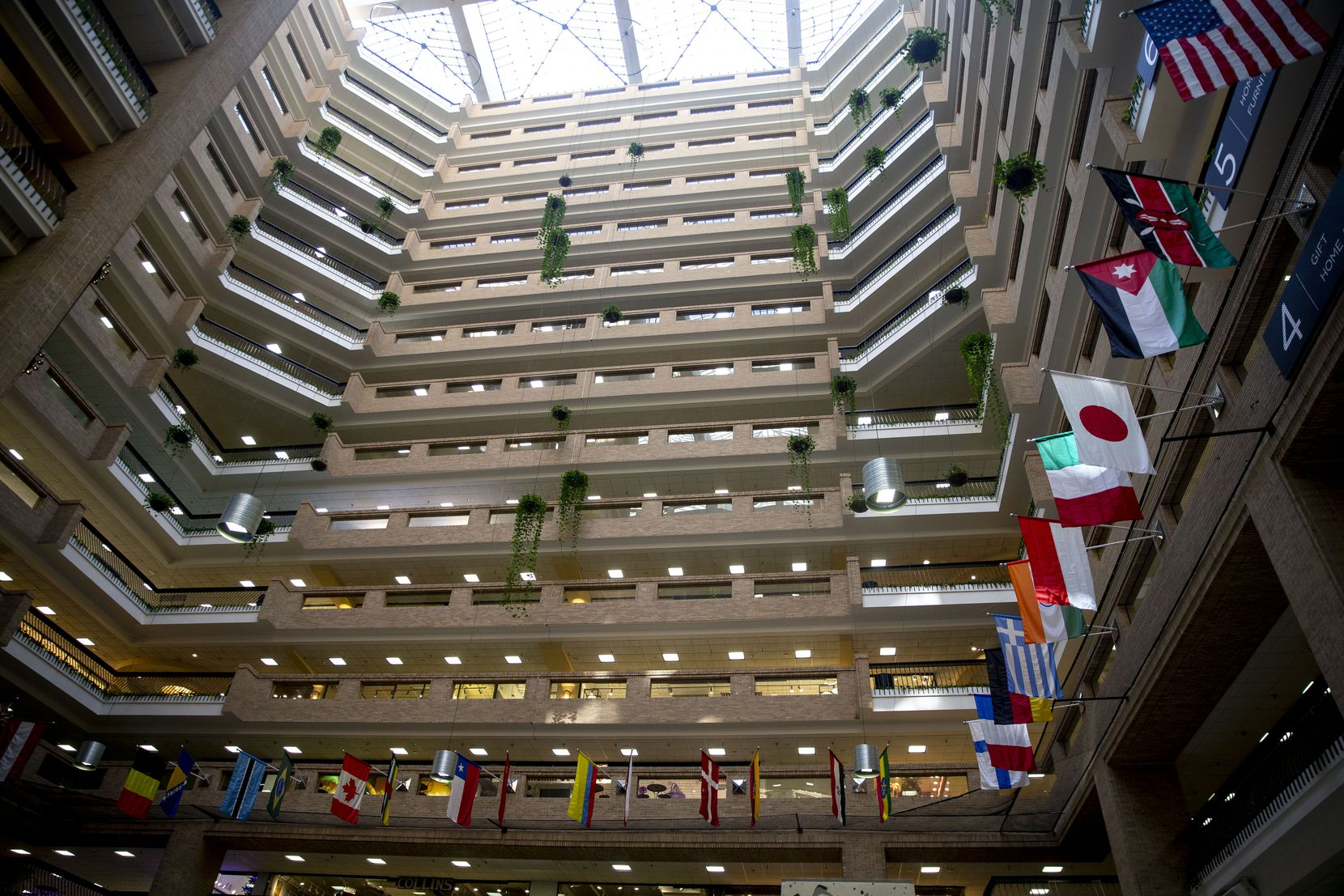The atrium in the World Trade Center, which is a part of the Dallas Market Center. The building is 15 stories and is one of the largest wholesale markets in the U.S.