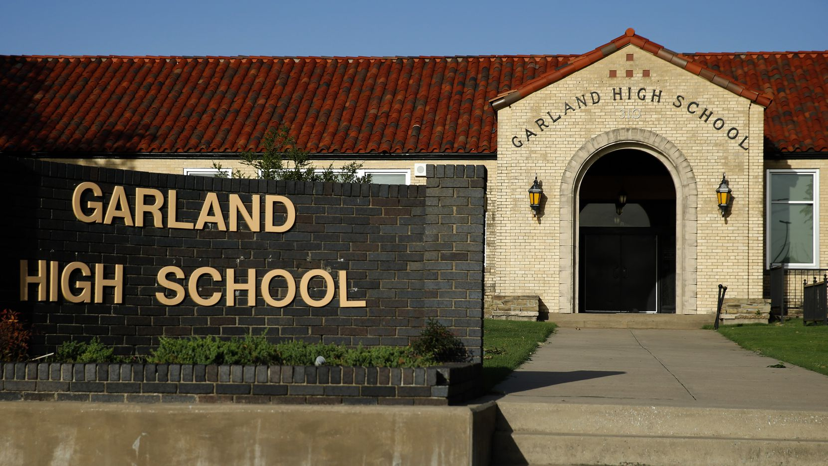 An exterior view of Garland High School in Garland, Texas, Friday, June 26, 2020.