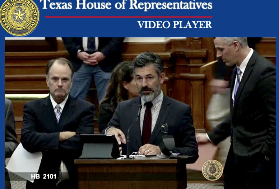 This screenshot of the debate in the Texas House shows State Rep. Ramon Romero Jr., a contractor, leading the fight to kill the roofers' registry bill.