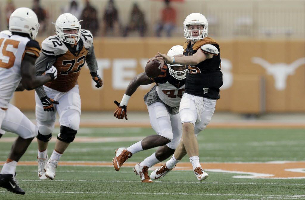 Texas quarterback Shane Buechele (16) looks to throw during a spring NCAA college football game, Saturday, April 16, 2016, in Austin, Texas. (AP Photo/Eric Gay) ORG XMIT: OTK
