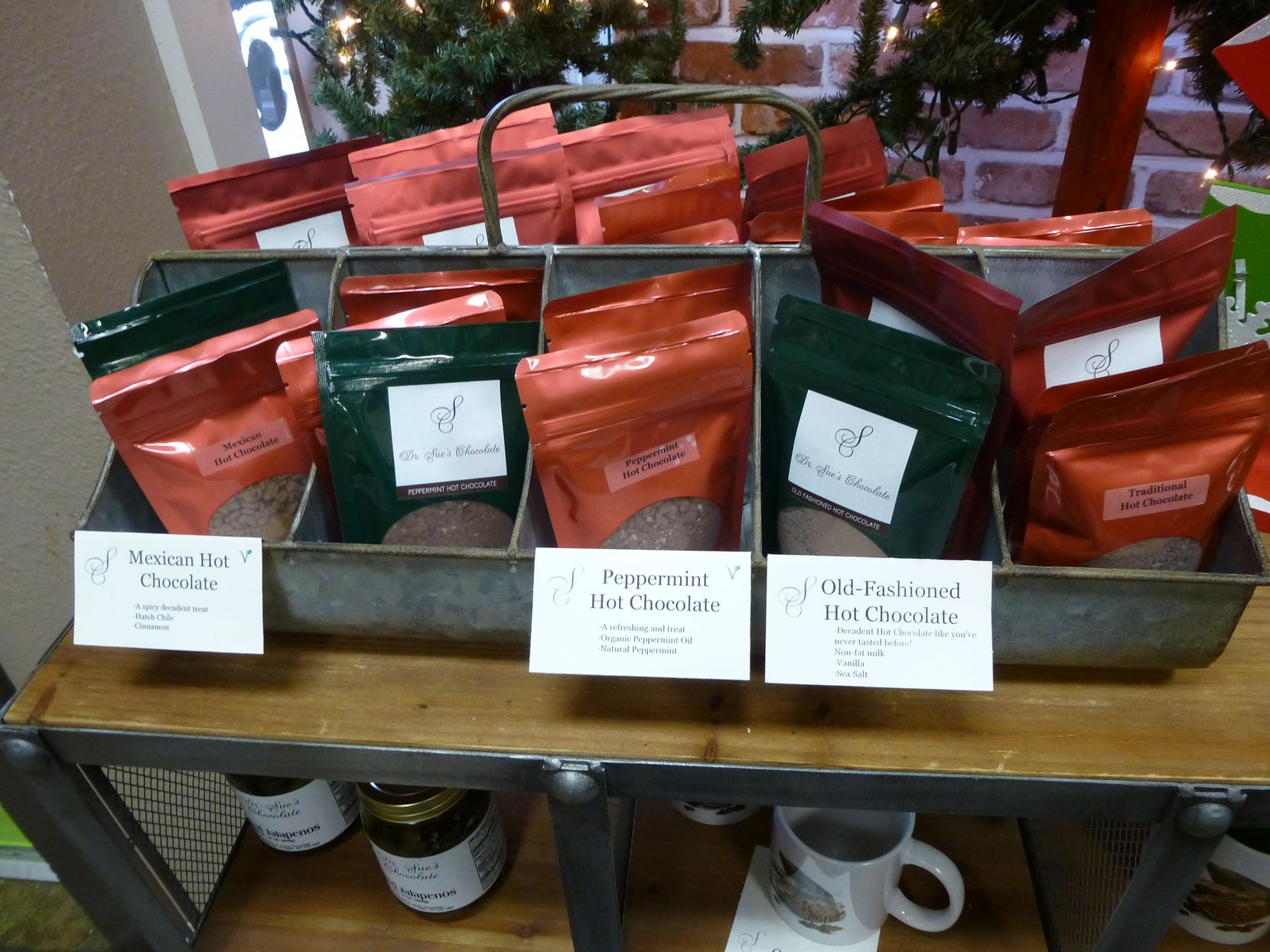 Down the street from Grapevine Farmers Market, find stocking stuffers like instant hot chocolate at Dr. Sue's Chocolate.
