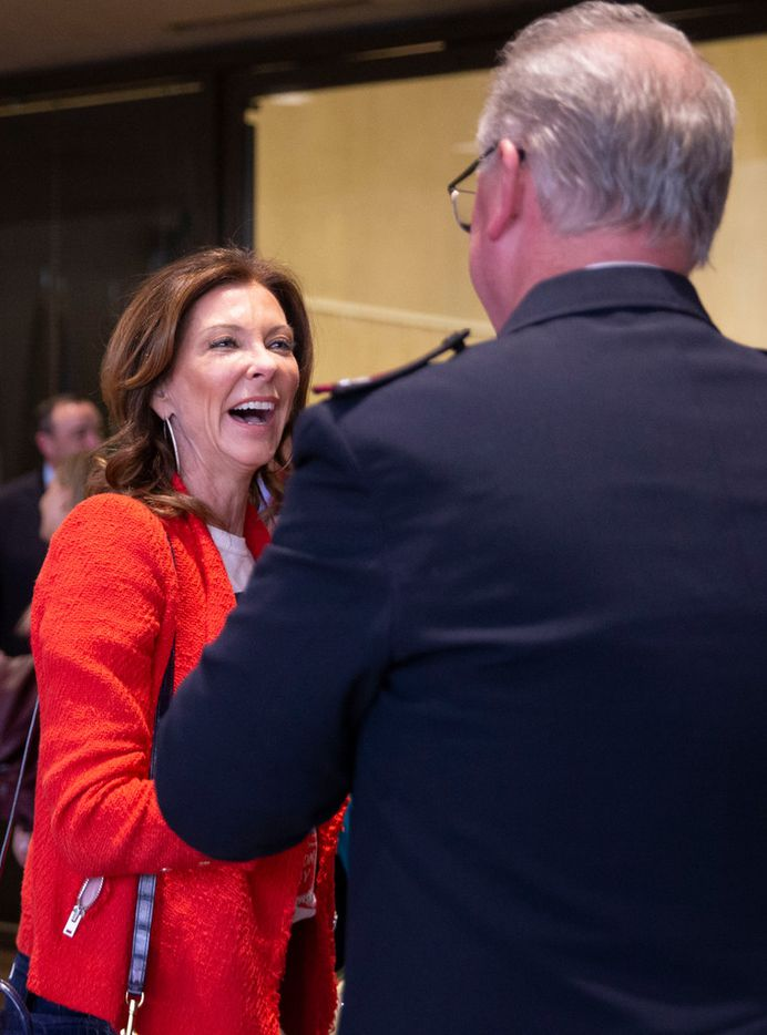 Charlotte Jones Anderson, chairperson of the Salvation Army's National Advisory Board, shared a moment with Major Jonathan Rich, Salvation Army commander for Dallas-Fort Worth, following the plan commission's vote Thursday evening.
