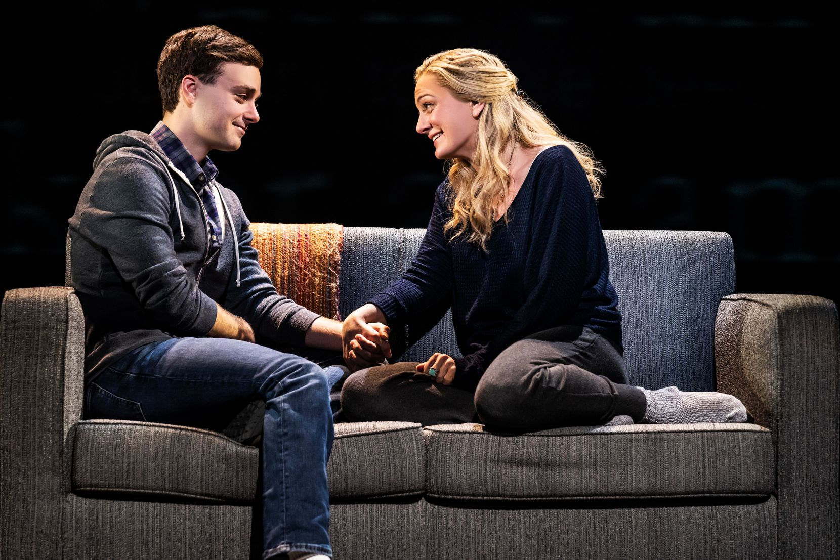 "Stephen Christopher Anthony as ""Evan Hansen"" and Jessica E. Sherman as ""Heidi Hansen"" in the North American touring company of ""Dear Evan Hansen."""