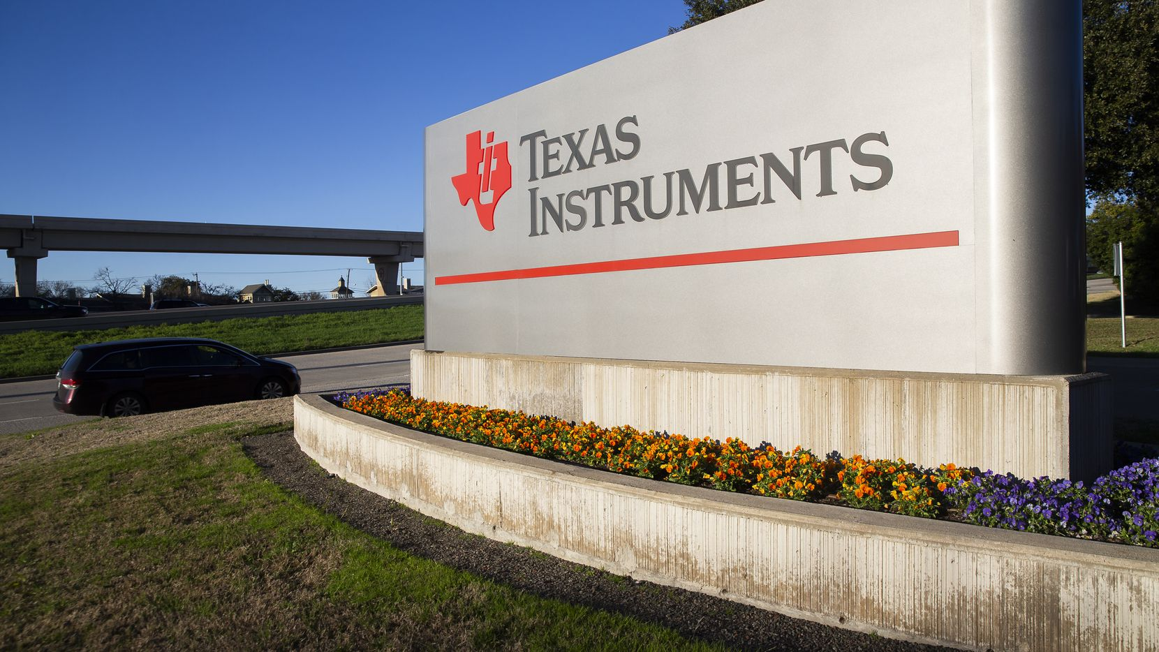Entrance to the Texas Instruments headquarters in Dallas.