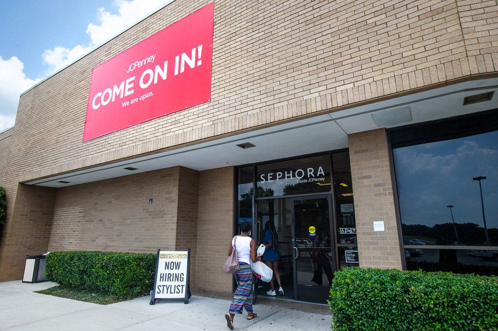 A customer enters the J.C. Penney located in the former Collin Creek Mall in Plano, Texas, on Monday, Aug. 5, 2019. The store will remain open while Collin Creek Mall is demolished and a new development is built around it. J.C. Penney is getting a new store and is the only tenant staying around for the multiyear, $1 billion redevelopment in Plano. (Lynda M. Gonzalez/The Dallas Morning News)