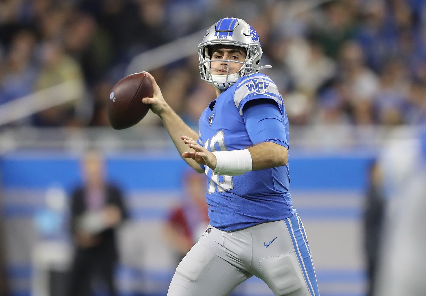 Detroit Lions quarterback David Blough in action against the Green Bay Packers at Ford Field in Detroit on December 29, 2019. (Rey Del Rio/Getty Images/TNS)