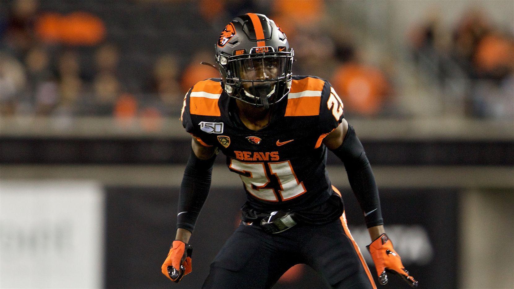 Oregon State Beavers defensive back Nahshon Wright during an NCAA football game on Friday, Aug. 30, 2019 in Corvallis, Ore. (AP Photo/Craig Mitchelldyer)