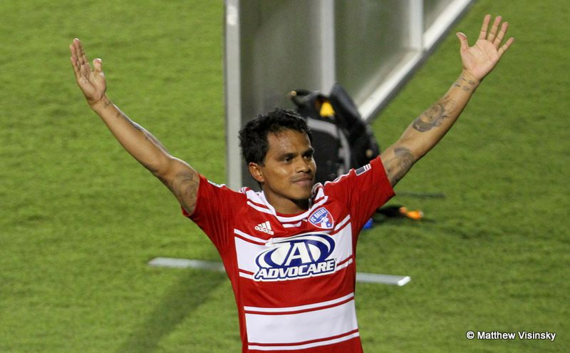 11 August 2012 -  FC Dallas midfielder David Ferreira (#10) celebrates his second half goal during the MLS game between FC Dallas and the Colorado Rapids at FC Dallas Stadium in Frisco, Texas.  FC Dallas won 3-2.