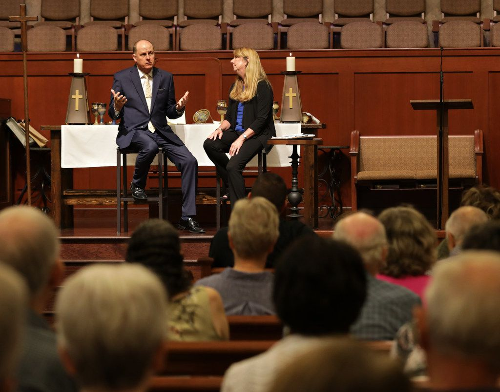 Pastor Billy Echols-Richter and Executive Pastor Laura Echols-Richter took questions from the congregation at Grace Avenue United Methodist Church in Frisco on Sunday. The Q&A was planned before the weekend tragedies in El Paso and Dayton, Ohio, but many of the questions posed at the morning service dealt with the two shootings.