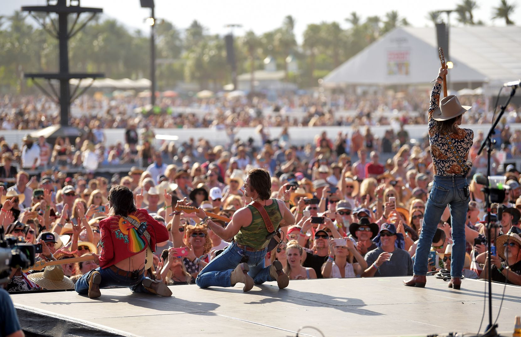Cameron Duddy, Mark Wystrach and Jess Carson of Midland perform during the 2018 Stagecoach California's Country Music Festival at the Empire Polo Field on April 28, 2018 in Indio, Calif.