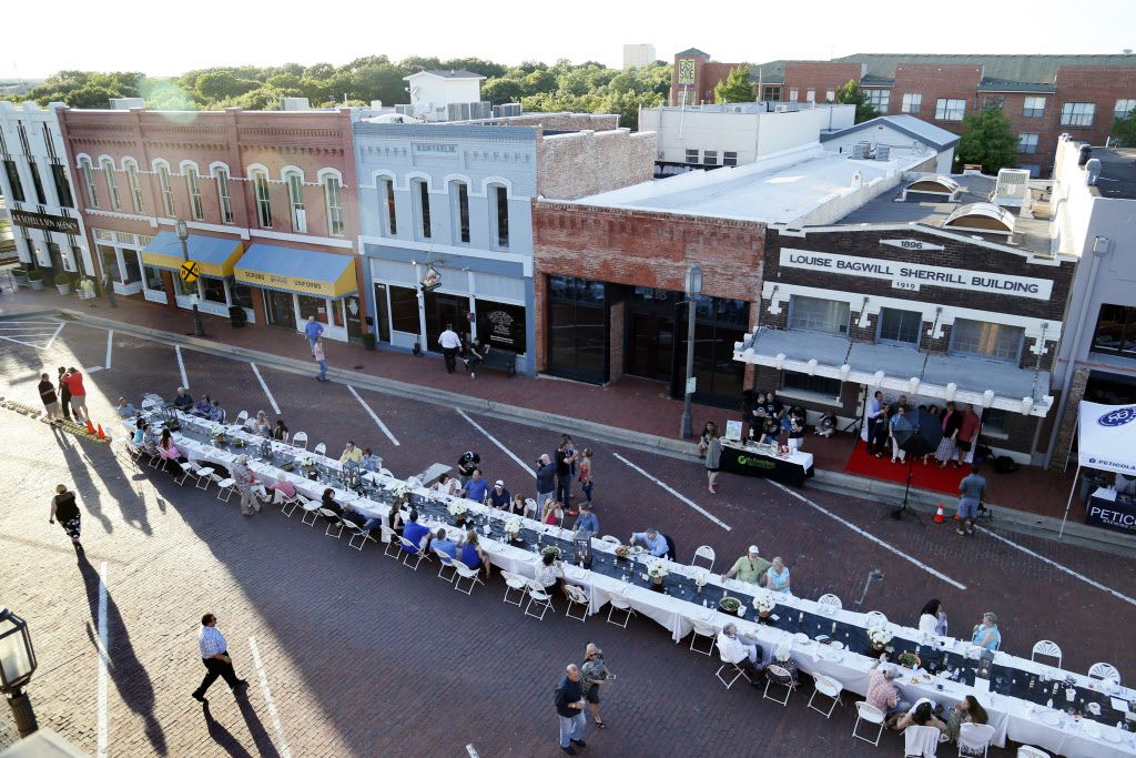 """The view of the first """"Night Out on 15th"""" on 15th Street in the historic downtown Plano, TX on Sunday, May 31, 2015."""