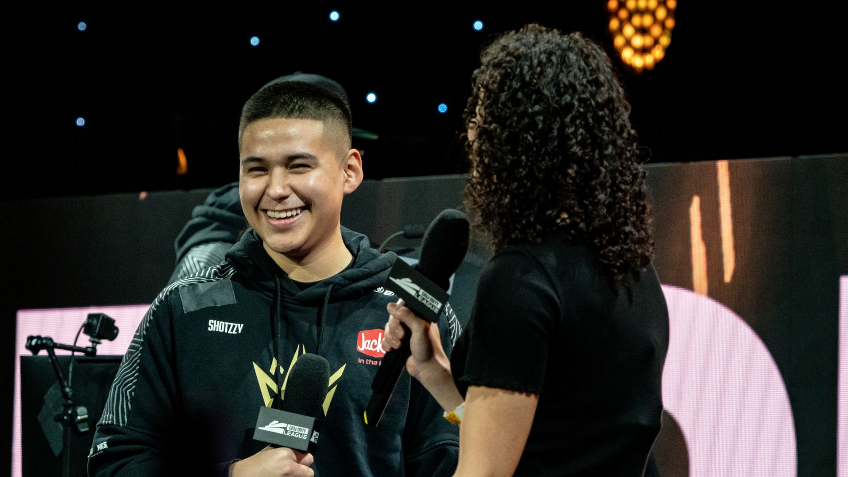 """Anthony """"Shotzzy"""" Cuebas-Castro speaks after the Dallas Empire defeat the Minnesota RØKKR in the first round during the Call of Duty League Championship Weekend at the Galen Center on Thursday, August 19, 2021 in Los Angeles, CA."""