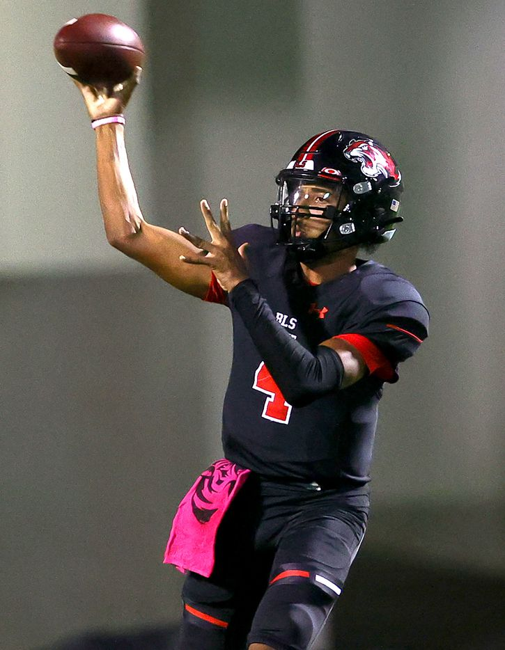 Denton Braswell quarterback Keegan Byrd attempts a pass against Denton Guyer during the second half in a District 5-6A high school football game played at the C.H. Collins Complex on Friday, October 8, 2021, in Denton. (Steve Nurenberg/Special Contributor)