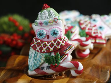 Owl Be Home for Christmas by Suzy Cravens won the cookie man category during The Dallas Morning News cookie contest at Central Market in Dallas on Nov. 14, 2018.(Nathan Hunsinger/The Dallas Morning News)