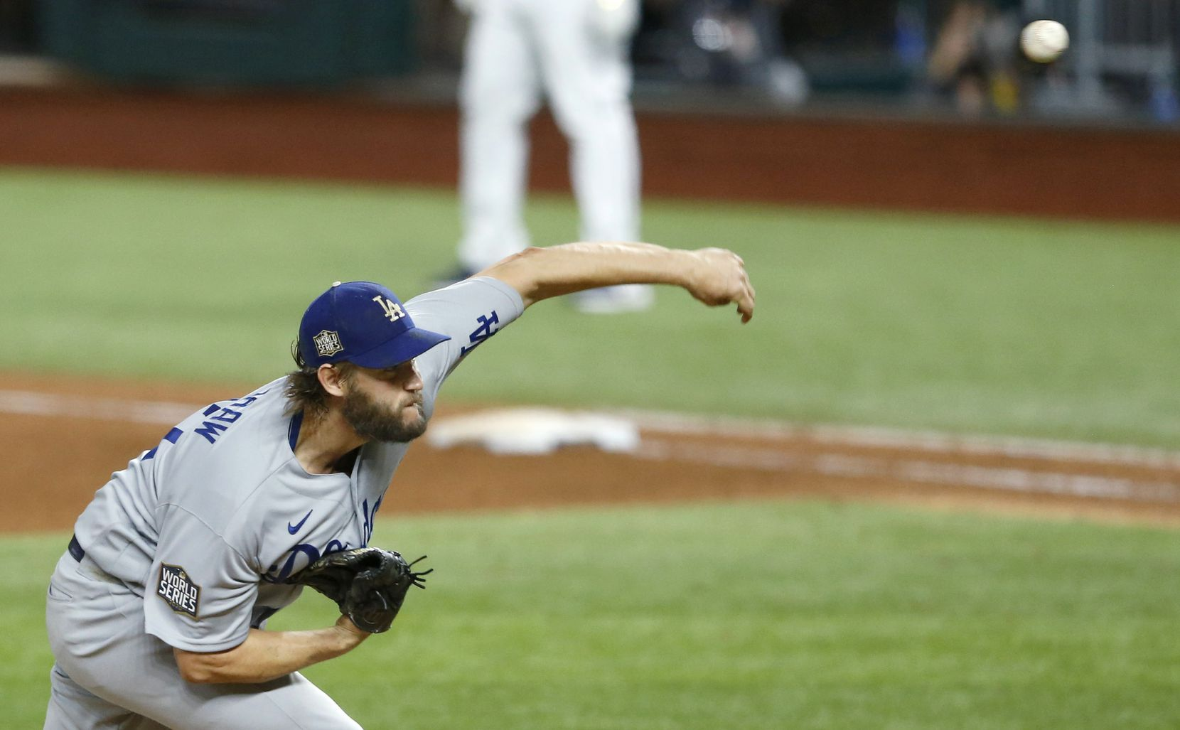 Dodgers starting pitcher Clayton Kershaw pitches against the Rays during the sixth inning of Game 5 of the World Series at Globe Life Field on Oct. 25, 2020, in Arlington.