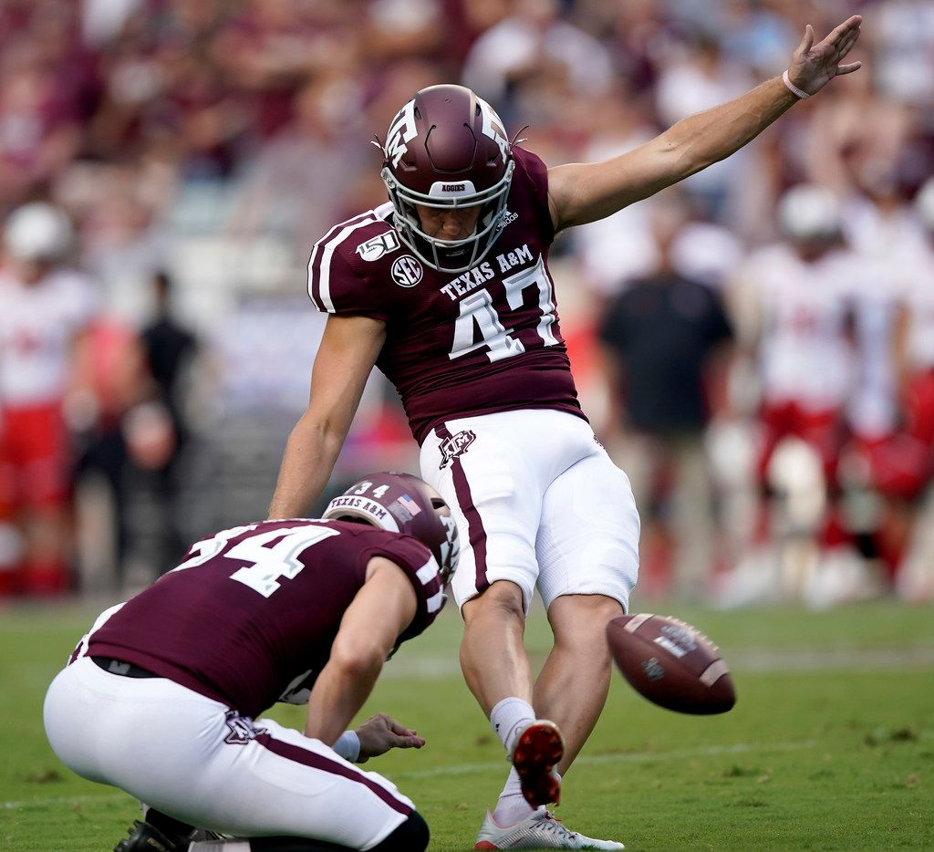Texas A&M place kicker Seth Small (47) kicks a field goal against Lamar during the first quarter of an NCAA college football game, Saturday, Sept. 14, 2019, in College Station, Texas. (AP Photo/Sam Craft)